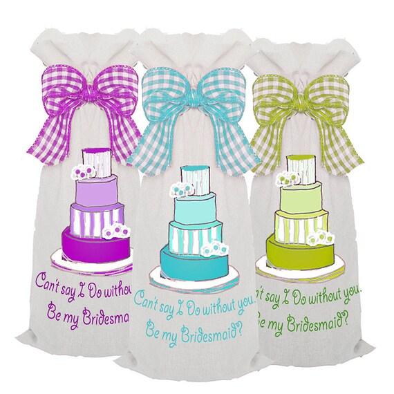 Bridesmaid Gifts, 3 Wedding Wine Bags, canvas wine bags, personalized wine bags, wine sack, bridesmaid gifts, be my bridesmaid, grad