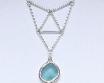 Sea Glass Jewelry - Sterling Aqua Sea Glass Necklace
