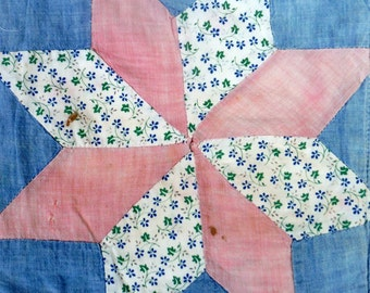 VINTAGE DOLL QUILT, Blue, Pink, White, Red, Floral, 8 point star, Patchwork Pattern, Quilt, Doll Blanket, machine quilted, grain-bag fabric