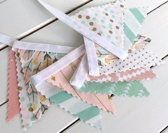 Bunting Banner Mini, Fabric Banner Flags, Photography Prop, Blush Pink, Mint Green, Gold, Aztec Nursery, Tribal Nursery, Feather, Boho