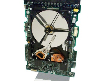 Laptop Hard Drive on a Circuit Board Clock, Unique, Awesome Combination.