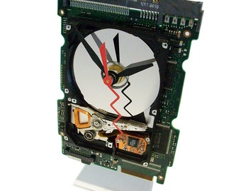 Laptop Hard Drive on a Circuit Board Clock, Unique, Red Zigzag Second Hand.