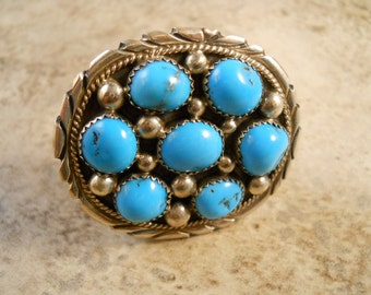 Small Vintage Navajo Tommy Moore Sterling Silver Turquoise Belt Buckle