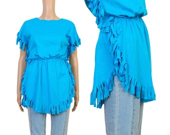 Deadstock Vintage 80s T-shirt - Bright Blue T Shirt - Fringe Top - Cinched Waist Jersey Knit Tee Shirt - Boho Festival Shirt - size XS S M