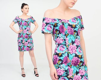 Vintage 90s Floral Dress - Off Shoulder Dress - Fitted Wiggle Dress - Cotton Body Con Mini Dress Black Purple Aqua - NOS size Small S