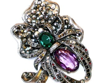 Jeweled Spider and Flower Brooch