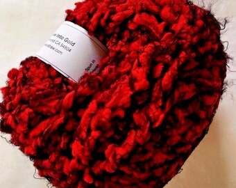 "Crystal Palace Poof #3608 ""Lacquer Red"" Red, Black Puff Eyelash Yarn 50gr 47yd Supersoft Nylon Super Bulky Machine Wash"