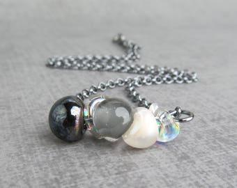 Black White Necklace, Lampwork Necklace Black, Monochrome Necklace Glass, Black Necklace, Gray Necklace, Oxidized Sterling Silver Necklace