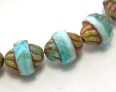 Aqua/Pale Blue Turbines w/Picasso 15 Beads  (11mm)  - Czech Beads