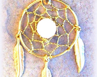 LOVE STONE DREAMCATCHER  Gold ,Rose quartz Dream catcher, Feather necklace