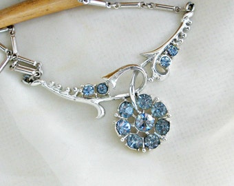 Coro Necklace Rhinestone Rhodium Choker Vintage 50s Jewelry