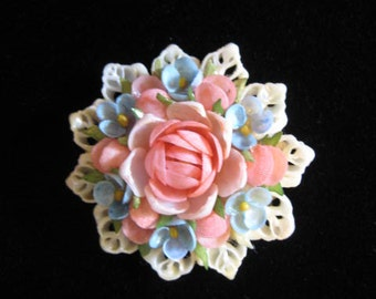 Floral Shell Pin,Floral Shell Brooch,Vintage Roses and Forget Me Not Shell Pin,Vintage Roses and Forget Me Not Shell Brooch,