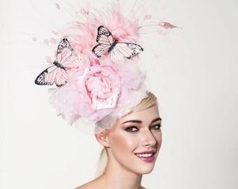 Baby Pink fascinator, kentucky derby fascinator, Oaks day hat