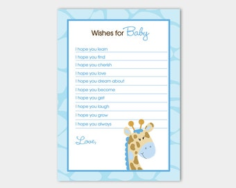 Blue Giraffe Baby Shower Wishes for Baby Advice Card Printable JPG INSTANT DOWNLOAD bs-025