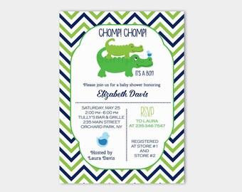 Preppy Alligator Boy Baby Shower Chevron Green and Navy Invitation bs-063