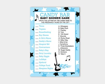 Blue Rock Star Candy Bar Matching Baby Shower Game | Boy Music Baby Shower Game Printable PDF INSTANT DOWNLOAD bs-056