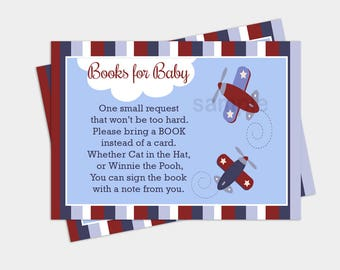 Zooming Along Airplane Boy Baby Shower Book Request Enclosure Cards INSTANT DOWNLOAD bs-007