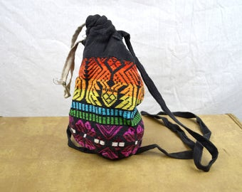 Mini Vintage Rainbow Guatemalan Fabric Drawstring Pouch Purse