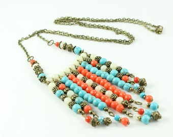 Boho necklace, beads, resin, brass, long necklace, coral, camel, turquese