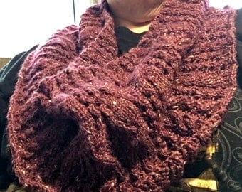 Burgundy Cowl Hand Knit