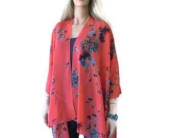 Eastern Sunset-Boho Kimono- Far eastern floral print -Lagenlook style-Kimono cardigan-beach pareo- Oversize kimono-Chiffon summer collection