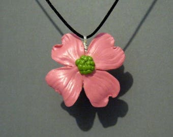 Pink Dogwood Flower Pendant - Pink Flower Pendant - Dogwood Blossom - Flower Necklace - Sculpted Flower Pendant - Nature - Flower Jewelry