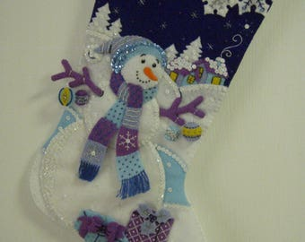 "Bucilla Completed Felt 18"" Frosty Night Christmas Stocking"