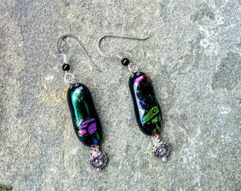 Dichroic Fused Glass Earrings With Bead