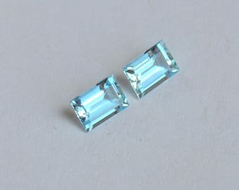 Aquamarine Matched Baguette Vietnam No Heat 6.6 x 4.6mm, matched pair of baguettes, matched pair of aquamarines, aquamarine gemsones
