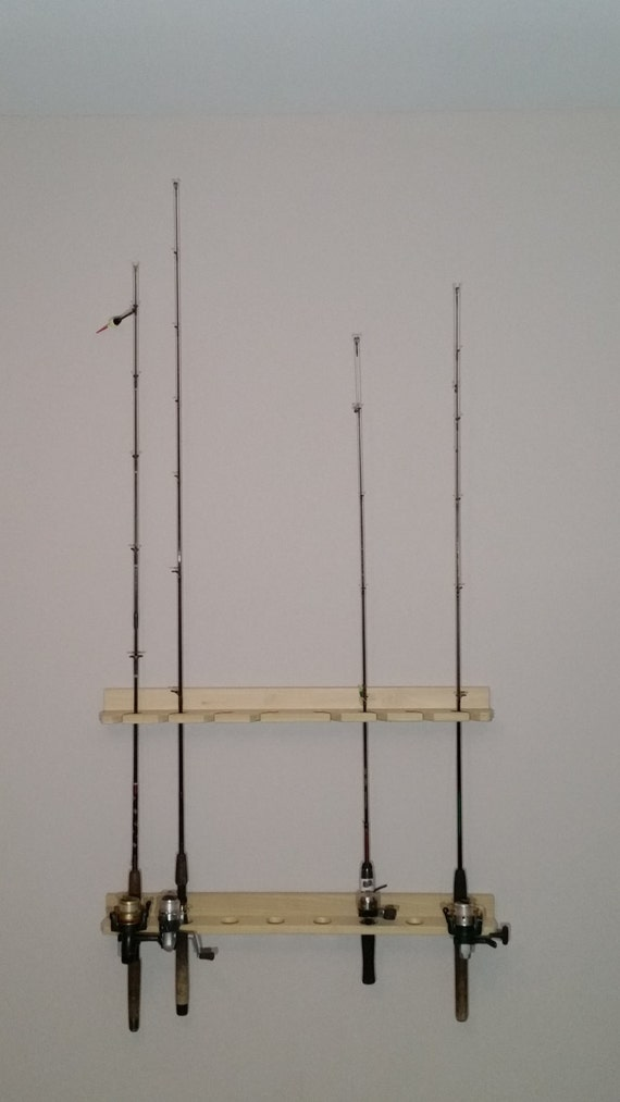 Economy poplar wooden fishing rod rack for Wooden fishing pole