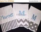 Shop Small Personalized Burp Cloths Set of 3. Favorite baby shower gift for new mother!  Premium cloth diaper in choice of theme monogrammed