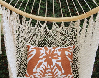 Brown Folk Art Pillow Sham-Otomi Embroidery Ready to ship.