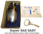 "Vintage Napier ""Bar Baby"" Miniature Silverplated Two Ounce Novelty Cocktail Shaker. Original Box, Insert & Corkscrew Worm. 4"" Tall 1950s"