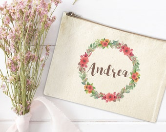 Canvas Makeup Bag - Floral Make Up Pouch - Personalized Canvas pouch - Cosmetic pouch - Cosmetic Bag - Makeup Organizer