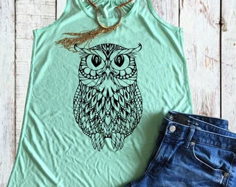 Mandala Owl Flowy Tank Top