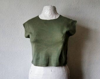 Sage green crop top festival clothing boho tees ethical womens short tshirts raw hem earthy natural dyes rustic minimalist hippie gypsy
