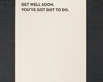 get well soon. letterpress card. #932