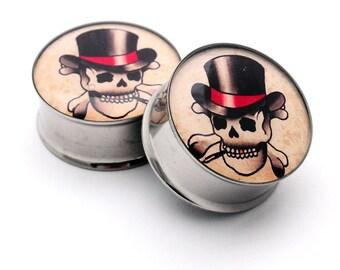 Top Hat Skull Picture Plugs gauges - 16g, 14g, 12g, 10g, 8g, 6g, 4g, 2g, 0g, 00g, 7/16, 1/2, 9/16, 5/8, 3/4, 7/8, 1 inch