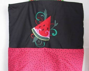 Watermelon Slice Summer Tote, Eco Friendly, Purse, Bag Embroidered