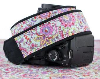Aqua Paisley dSLR Camera Strap, Pink, Red, Yellow, Violet, Lime, SLR, 108 c