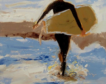 Beach Art, Surfer Art, Coastal Art, Ocean Art, California Art, Seascape Art, 'Surfer Girl' by AndolsekArt