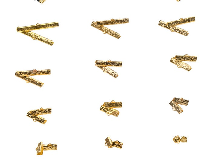 Gold Ribbon Clamps - Ribbon Crimps in Assorted Sizes - Artisan Series