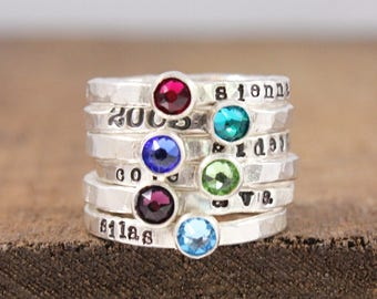 Fine silver birthstone name ring - stacking ring - hand stamped jewelry - Mother's Day gift - stackable ring - birthstone jewelry - tyi