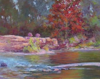 River Edge Ruby 11x14 pastel North Georgia