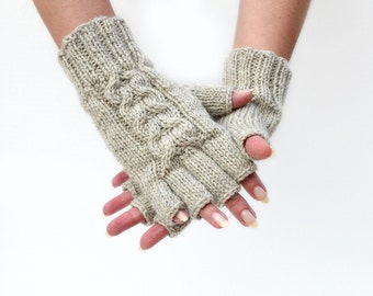 Wool fingerless gloves knit gloves Oatmeal natural material Christmas gift for her womens gloves mittens winter holidays