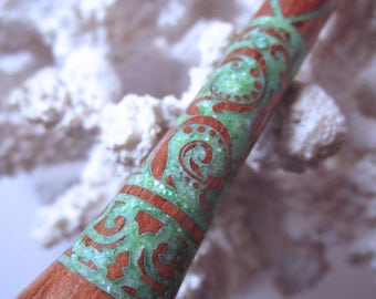 "The ""Princess Eve"" Feathery Paisley Hair Stick Featuring Bolivian Rosewood Inlaid with Mint Green Fresh Water Pearls"