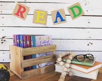 Ready to Ship - READ Banner - Red, Yellow, Blue, Green Banner - Home Decor - Book Nook - Bookworm decoration