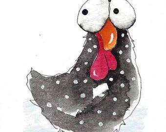 ACEO Original watercolor Chicken - Ella