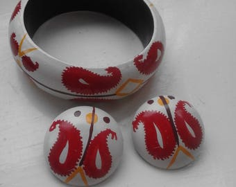 Vintage Hand Painted Wood 1980s Mexican Boho Bangle & Clip On Clip-on Earring Set Superb