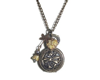 Pocket Watch Necklace Dragonfly Pocket Watch Necklace